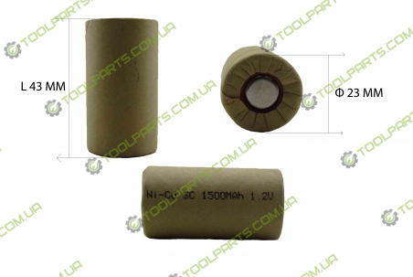 Элемент (банка) аккумулятора 1.2V Ni-Cd 1500mAh