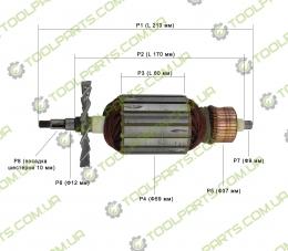 Якорь на болгарку DWT WS-230SL,WS-230DL